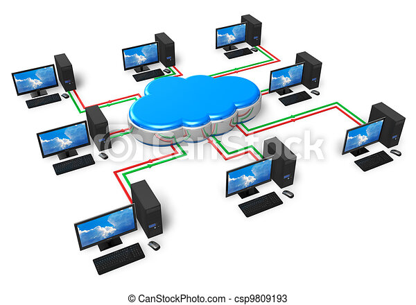 Cloud computing and computer networking concept - csp9809193