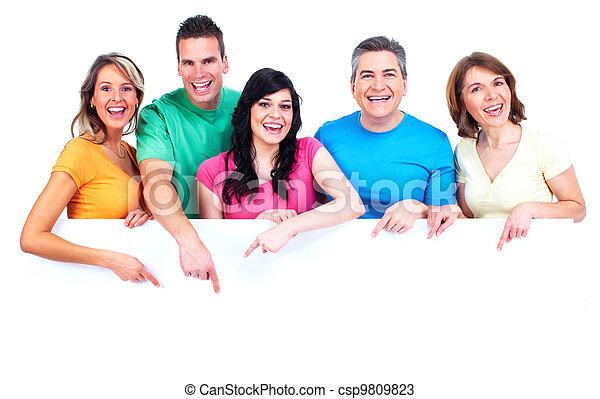 heureux, bannière, groupe, gens - csp9809823