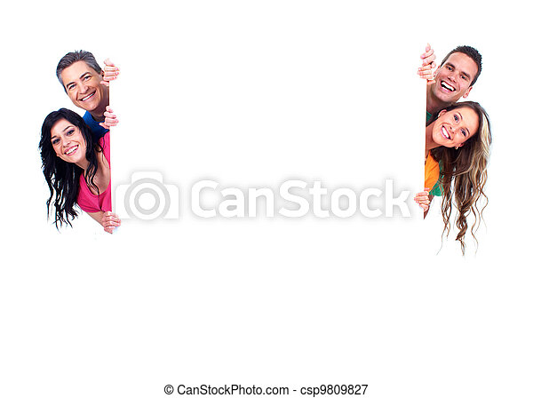 Group of happy people with banner. - csp9809827