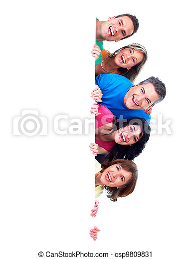 Group of happy people with banner. - csp9809831