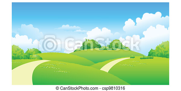 Curved path over green landscape  - csp9810316