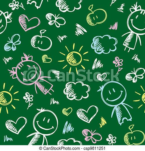 hand drawn kid pattern - csp9811251
