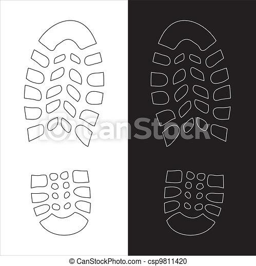 Shoe Prints Drawing Vector Shoe Print