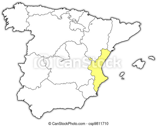 Map of Spain, Valencian Community highlighted - csp9811710