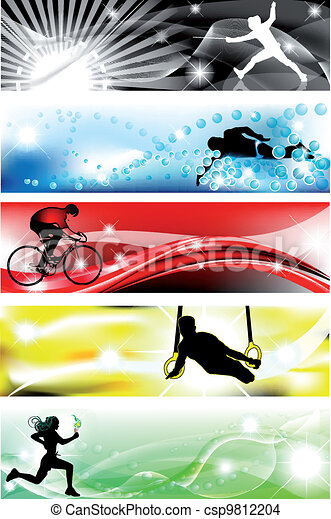 5 Sports banner with five brilliant colors - csp9812204
