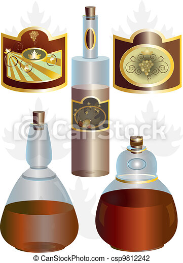 Unusual shape of bottles and labels - csp9812242