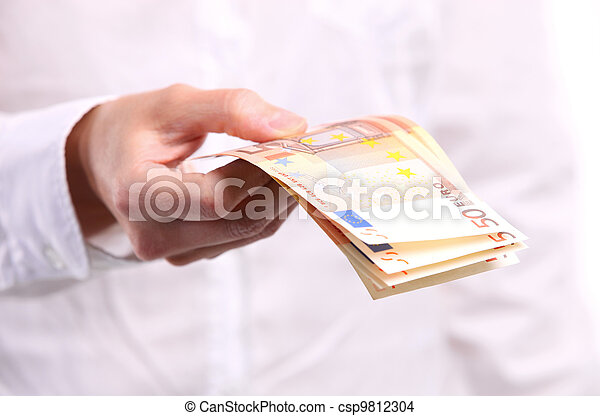 Female hand holding fifty euro banknotes - csp9812304