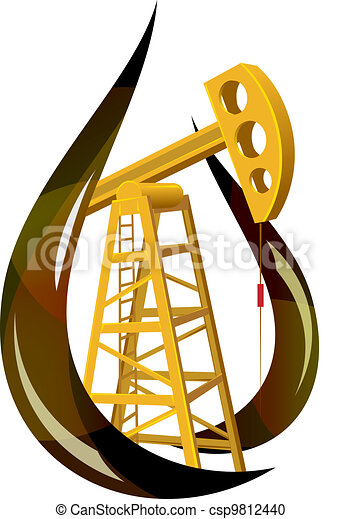 Stylized drop of fossil oil and the pump inside.  - csp9812440