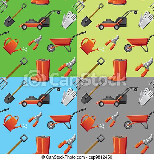 garden tools seamless pattern - csp9812450
