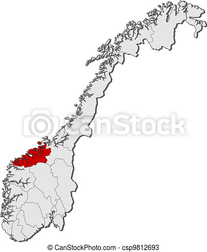 Map of Norway, More og Romsdal highlighted - csp9812693