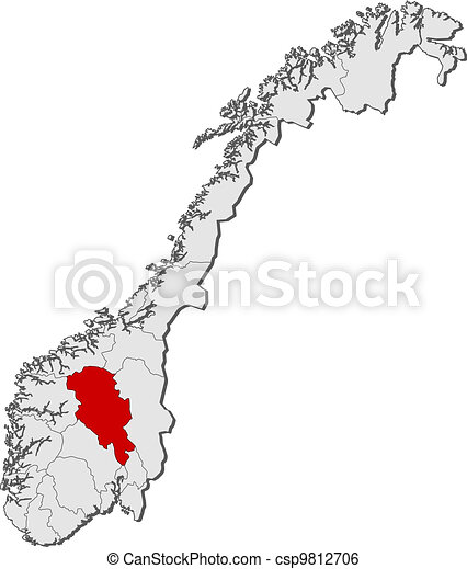 Map of Norway, Oppland highlighted - csp9812706