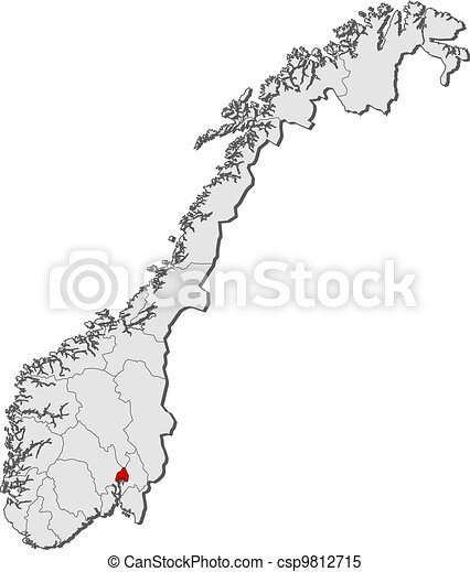 Map of Norway, Oslo highlighted - csp9812715