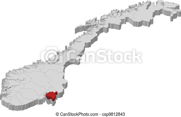 Map of Norway, Ostfold highlighted - csp9812843