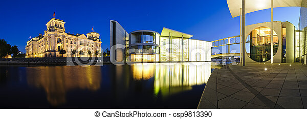 berlin government buildings at night - csp9813390
