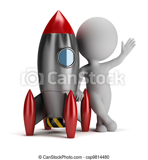 3d small people next to rocket - csp9814480