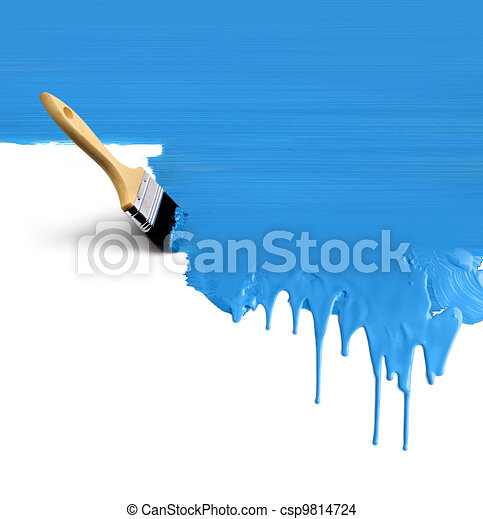 Paintbrush painting dripping blue - csp9814724