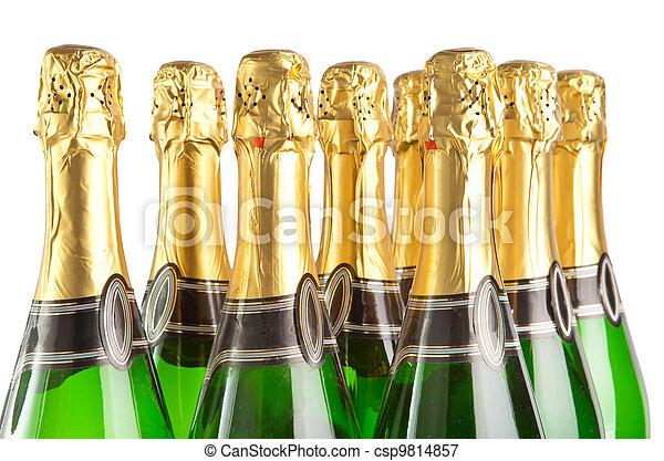 白色, 瓶子, 背景, 閃耀, 酒 - csp9... 閃耀, 酒, 瓶子, 上, a, 白色,