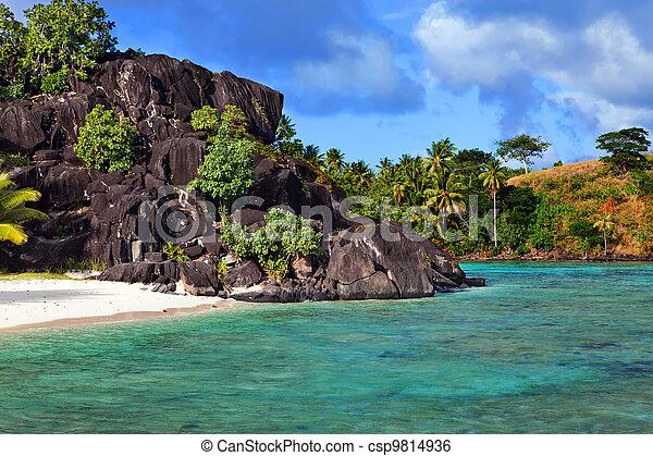 Black rocks. Bora-Bora. Polynesia - csp9814936