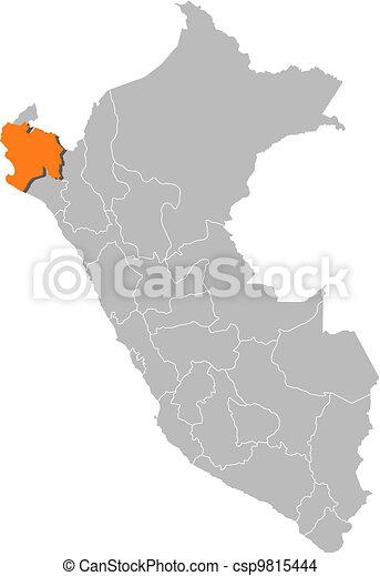 Map of Peru, Piura highlighted - csp9815444