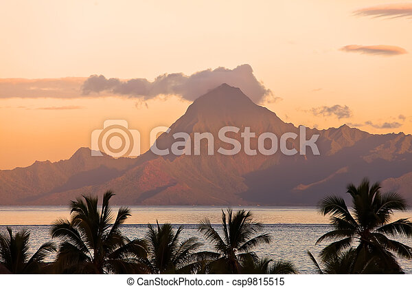 View on mountain Orohena at sunset. Polynesia. Tahiti. - csp9815515