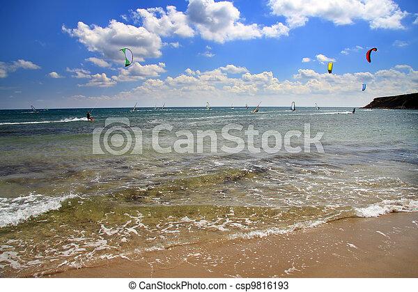 Greece. Rhodes. Prasonisi . A windsurfing resort - csp9816193