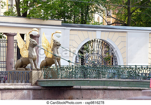 Russia. Saint petersburg. Bank bridge. Sculptures of Griffons. - csp9816278