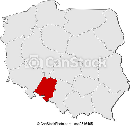 Map of Poland, Opolskie highlighted - csp9816465