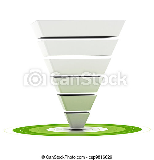 sales funnel with six stages easily customizable pointing to a green target, can be used as a marketing funnel, diagram over white background   - csp9816629