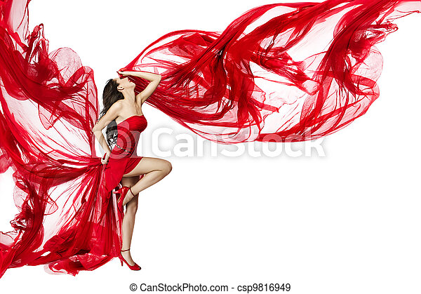 Beautiful woman dancing in red dress flying on a wind flow over white background - csp9816949