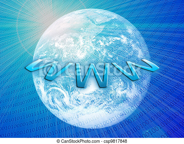 Wide world web concept: planet earth with integrated bits and bytes - csp9817848