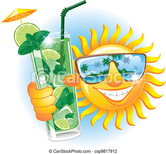Cheerful sun with cocktail - csp9817912