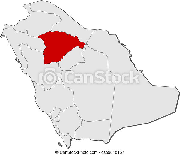 Map of Saudi Arabia, Ha'il highlighted - csp9818157