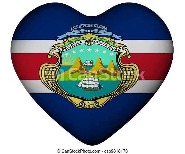 Heart with flag of Costa Rica - csp9818173