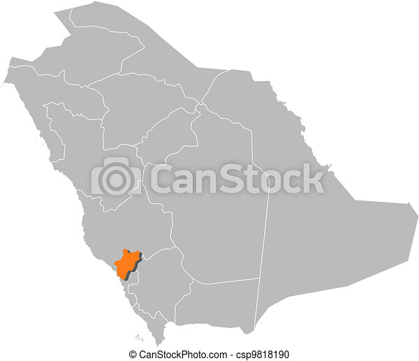 Map of Saudi Arabia, Al-Bahah highlighted - csp9818190