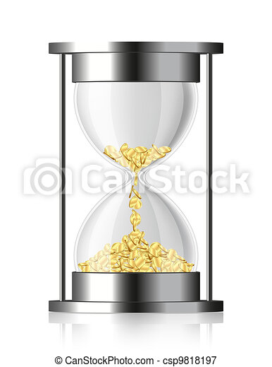 Time is money - vector hourglass with coins - csp9818197