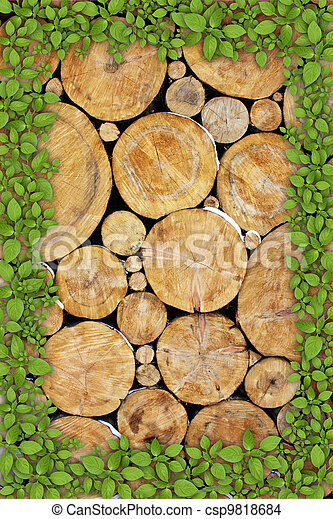 Stacked Logs Background - csp9818684