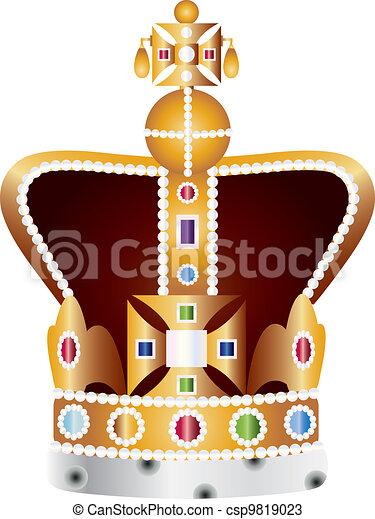 English Coronation Crown Jewels Illustration - csp9819023