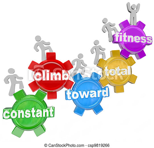 Constant Climb Toward Total Fitness People Walking - csp9819266