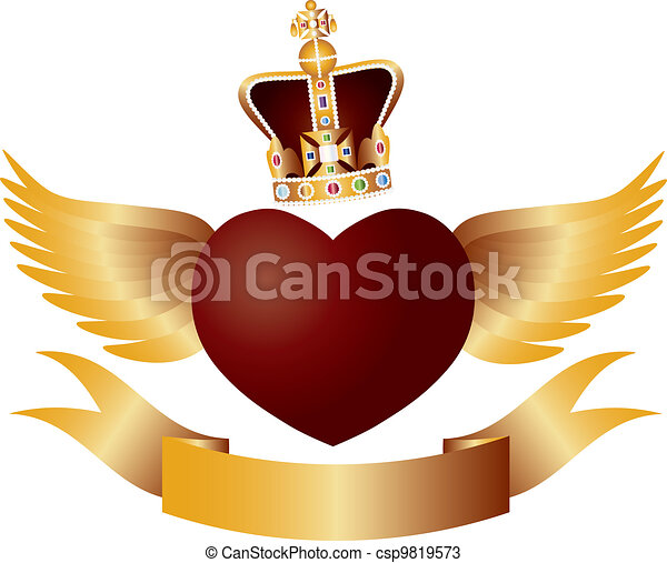 Flying Heart with Crown Jewels Illustration - csp9819573