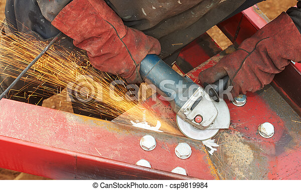 grinding machine works with sparks - csp9819984