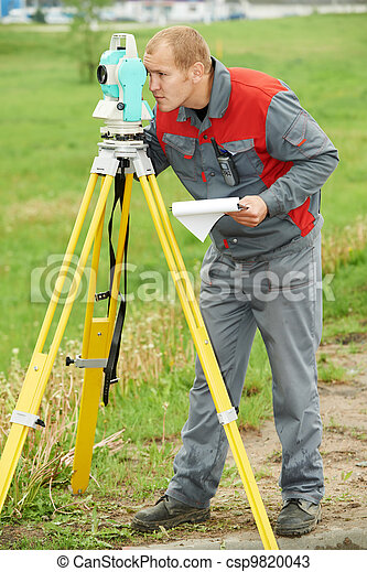 surveyor works with theodolite - csp9820043