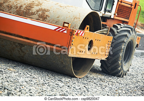 compactor roller at road work - csp9820047