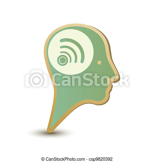 Wireless man. Label sticker. Modern concept - csp9820392
