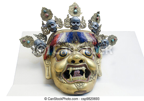 Chinese folk arts and crafts, gold-plated mask - csp9820693