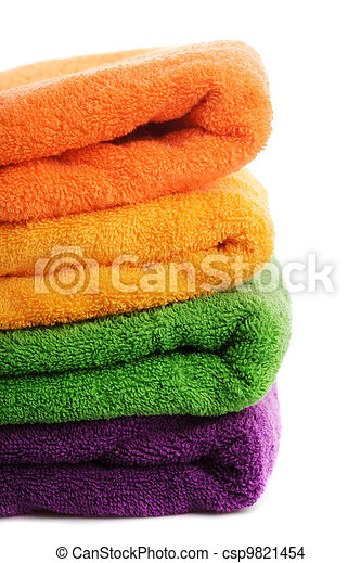 Stack towels isolated - csp9821454