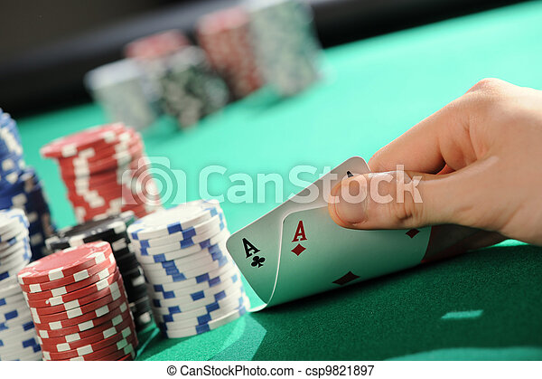 Poker texas holdem: Two Aces - csp9821897