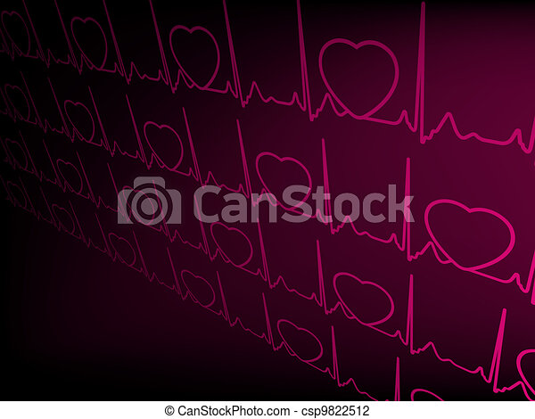 Heart cardiogram with shadow on purple. EPS 8 - csp9822512