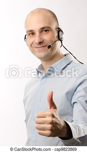 sales representative man with an headset - csp9823869
