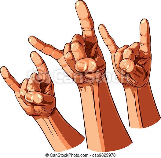 Set of three heavy metal hands - csp9823978