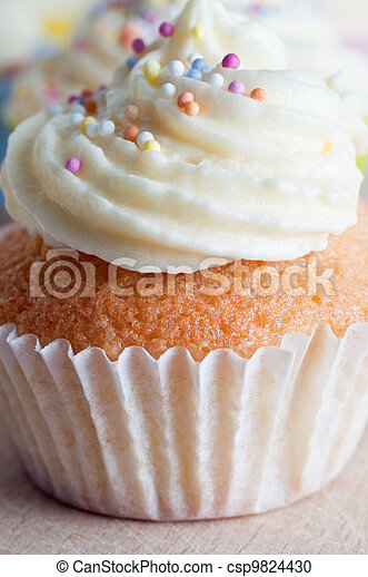 Cupcake with Icing and Sprinkles - csp9824430